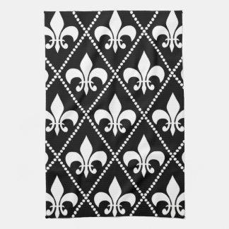 Black Fleur de Lis Tea Towel