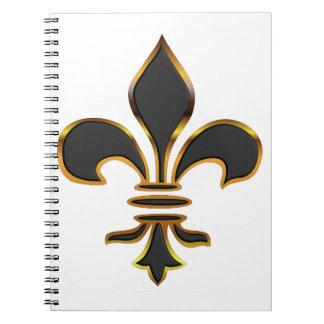 Black Fleur-de-lis Trimmed in Gold Spiral Notebooks