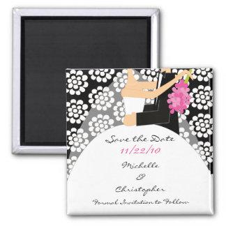 Black Floral Bride Groom Save The Date Magnet