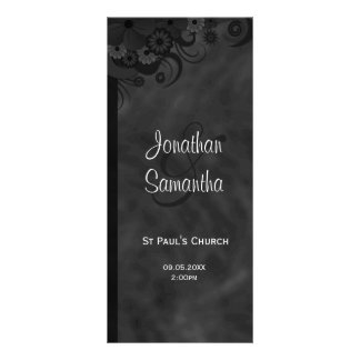 Black Floral Chalkbaord Goth Wedding Programs Rack Card