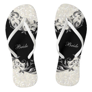 Black Floral & Confetti Glitter | Wedding Thongs