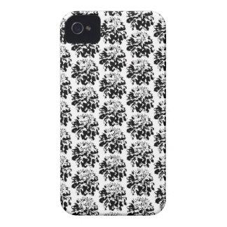Black  Floral Dahlia Flower Pattern iPhone 4 Case