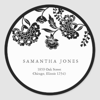 black floral damask address label round sticker