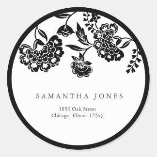 black floral damask address label stickers