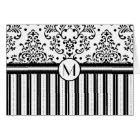 Black Floral Damask and Stripes-Monogram Card