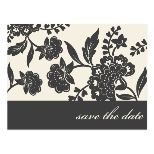 black floral damask save the date postcards