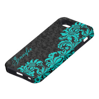 Black Floral Damasks With Blue-Green Lace Case For The iPhone 5