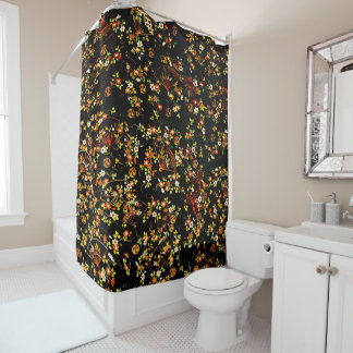 Black Floral Fans Girly Pattern Shower Curtain