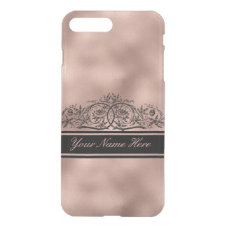 Black Floral Frame on Rose Gold Metal Gradient iPhone 8 Plus/7 Plus Case