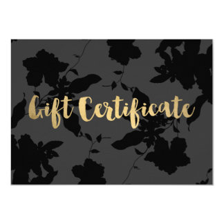 Black Floral Gold Text Gift Certificate 11 Cm X 16 Cm Invitation Card