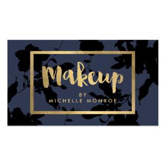 Black Floral Gold Text Makeup Artist Blue Pack Of Standard Business Cards