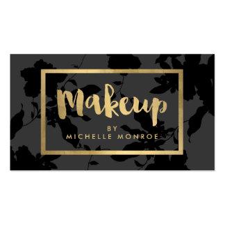 Black Floral Gold Text Makeup Artist Pack Of Standard Business Cards