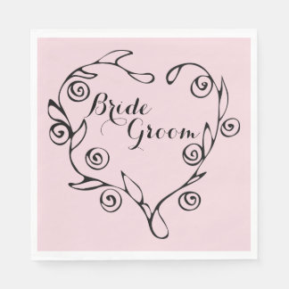 Black Floral Heart Bride And Groom Napkins Disposable Serviettes