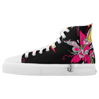 Black Floral Hi Top Unisex Sneaker