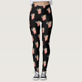 Black Floral Leggings Pink Flower Pants