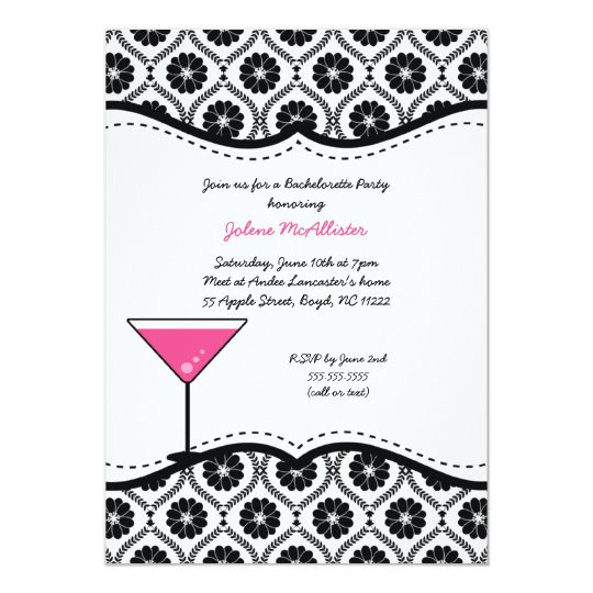 Black Floral Mod Damask Bachelorette Party Invite