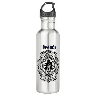 Black Floral Ornament 710 Ml Water Bottle