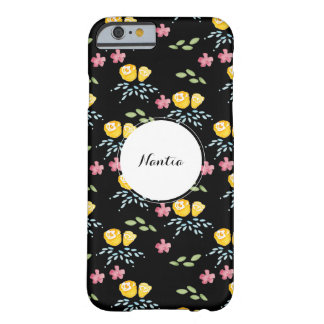 Black Floral Pattern with Custom Name Tag Barely There iPhone 6 Case