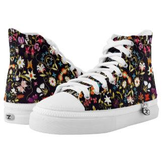 Black & Floral Printed Shoes