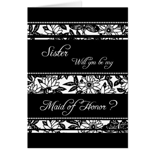 Black Floral Sister Maid of Honour Invitation Card