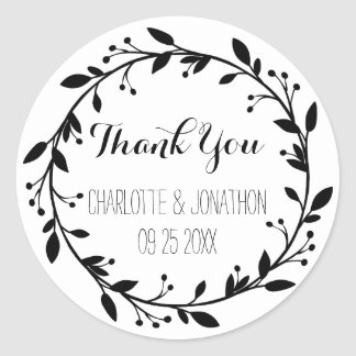Black Floral Thank You Wedding Favor Tags Round Sticker