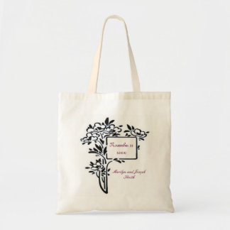 Black floral Wedding Tote