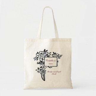 Black floral Wedding Tote Budget Tote Bag