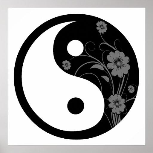 Black Floral Yin Yang Poster Print