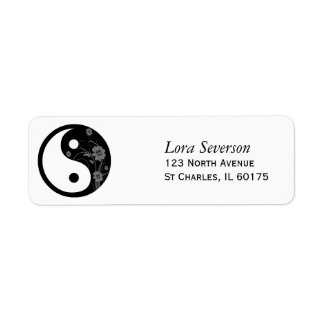 Black Floral Yin Yang Return Address Label