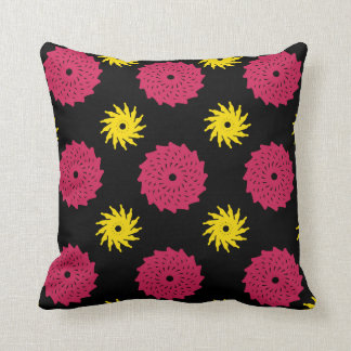 Black Florals Throw Pillow