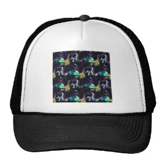 Black Flower Abstract Cap