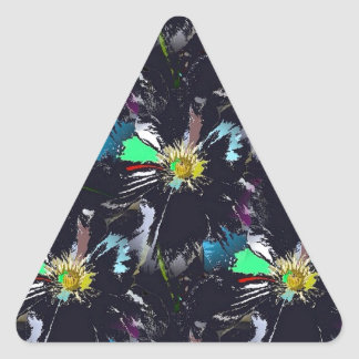 Black Flower Abstract Triangle Sticker