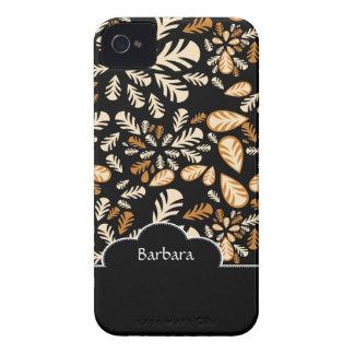 Black Flower Floral Pattern Blackberry Bold  Case Case-Mate iPhone 4 Case