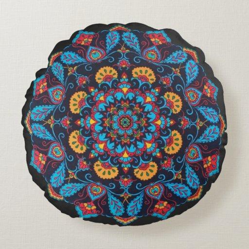 Black Flower Mandala Throw Pillow, round pillow Round Cushion Zazzle