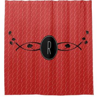 Black Flower Monogram | Shower Curtain