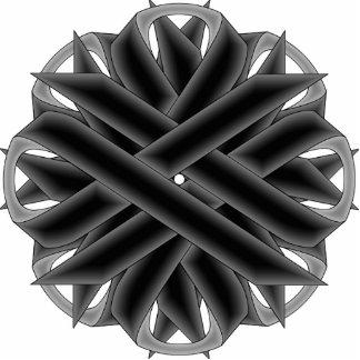 Black Flower Ribbon Photo Sculpture Key Ring
