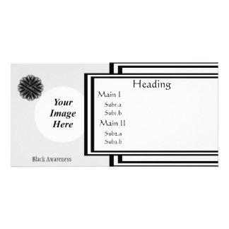 Black Flower Ribbon Template Photo Card