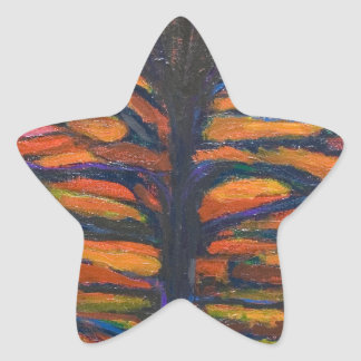 Black Flower(Symbolic Expressionism) Star Sticker