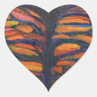 Black Flower(Symbolic Expressionism) Heart Sticker
