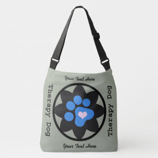 Black Flower with Blue Paw Therapy Dog Crossbody Bag