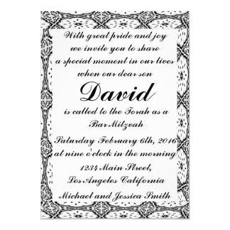 Black Flowers Bar Mitzvah/Birthday Invitation