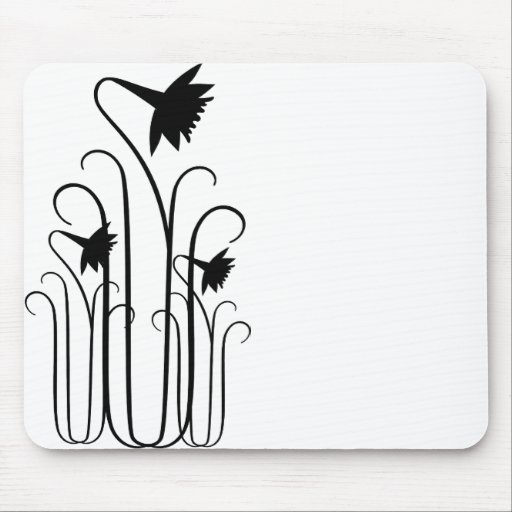 Black Flowers Mousepad