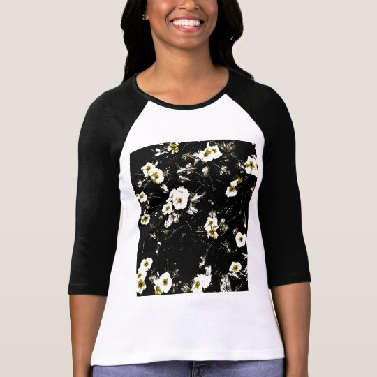 Black flowers on T shirt