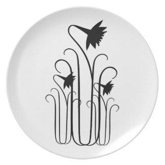 Black Flowers Plate