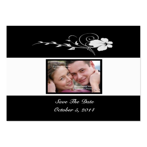 Black Flowing Flower Photo Save The Date Card Business Card Templates