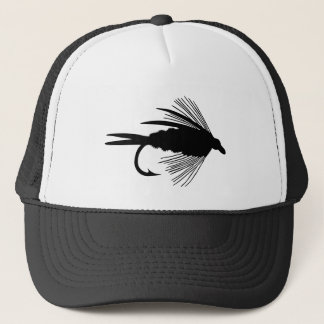 Black fly fishing lure trucker hat