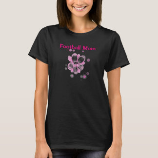 Black Football Mom with Pink Flower T-Shirt
