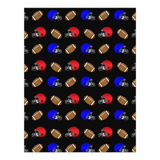 Black footballs helmets pattern full color flyer