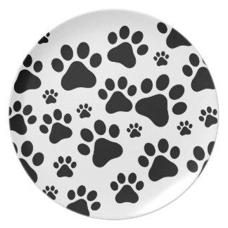 Black Footprint dogs Plate