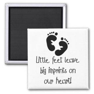 Black Footprints Little Feet Big Imprints Square Magnet